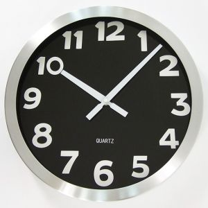 Round Wall Clock Aluminium Modern Decor Silent Quartz