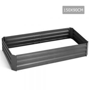 Galvanised Raised Garden Bed - 150 x 90 x 30cm - Aluminium Grey
