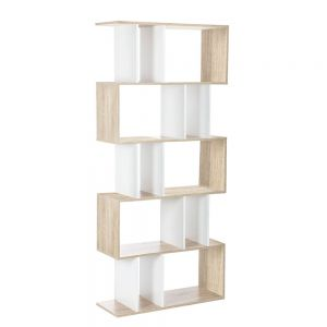 5 Tier DisplayBookStorage Shelf Unit White Brown