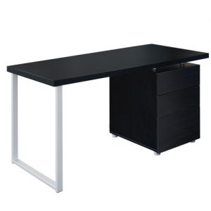 Office Study Computer Desk w 3 Drawer Cabinet Black