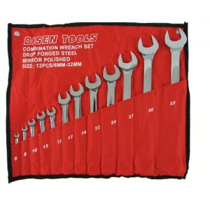 12 PIECE 6-32 MM WRENCH SPANNER TOOL SET COMBINATION RING & OPEN ENDED SPANNERS