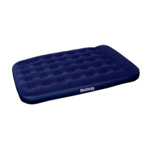 Bestway double inflatable air mattress bed w built-in foot pump blue