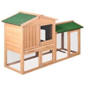 Rabbit hutch chicken coop cage guinea pig ferret house w 2 storeys run