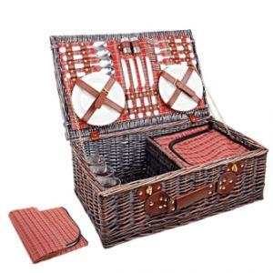 4 person picnic basket set w cooler bag blanket