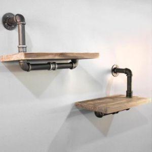 Rustic industrial diy floating pipe shelf