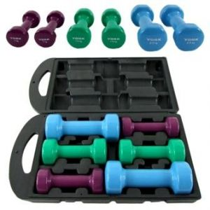 10kg PVC DUMBBELL COLOR CODED AEROBIC GYM WEIGHT SET BARBELL SET CARRY CASE