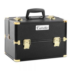 Make Up Cosmetic Beauty Case  Black  Gold