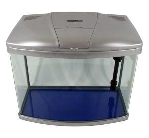 Aquarium Fish Tank Silver 60L Curved Glass