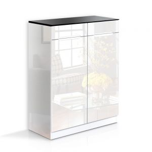 High Gloss Shoe Cabinet Rack Black  White