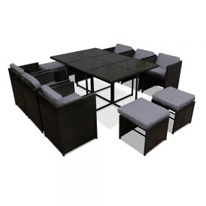 Capetown Dining 10 Seater Set  Black  Grey