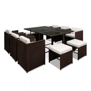 Capetown Dining 10 Seater Set  Brown  White