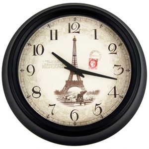 Eiffel Wall Clock Metal Casing Vintage Design