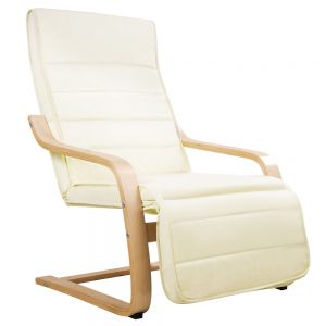 Birch Bentwood Adjustable Lounge Arm Chair w Fabric Cushion Beige