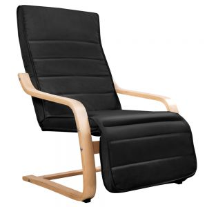 Birch Bentwood Adjustable Lounge Arm Chair w Fabric Cushion Black