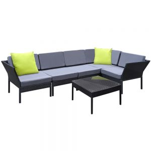 Stackable 6 pcs Black Wicker Rattan 5 Seater Outdoor Lounge Set Grey