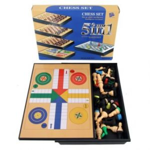 5 in 1 Magnetic Travel Games Chess Set Checkers Snake Ladders Ludo Board