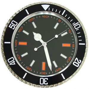 Submariner Wall Clock Chrome Steel Sport Design