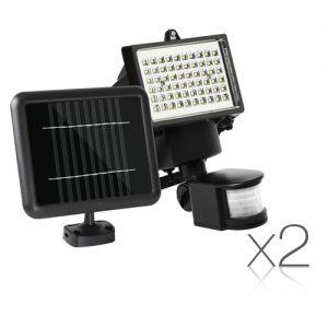 Set of 2 LED Solar Sensor Light 60 SMD
