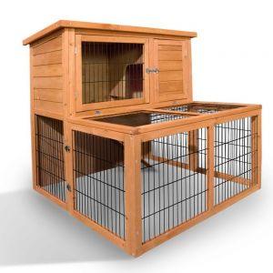 Deluxe Rabbit Cage Hutch w Under-Run