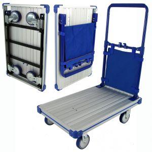 Folding Handle & Wheels Aluminium Platform Cart Trolley