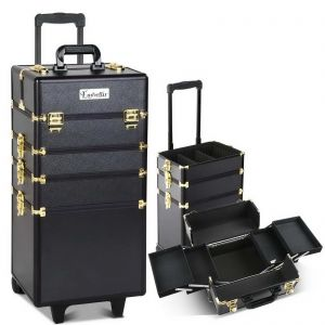 7 in 1 Make Up Cosmetic Beauty Case  Black  Gold
