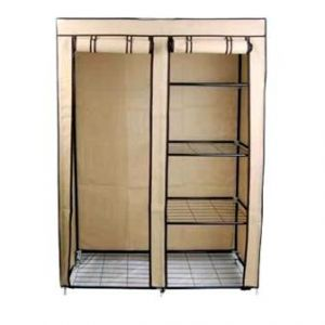 Portable Double Storage  Wardrobe Clothes Steel Hanger Shelves