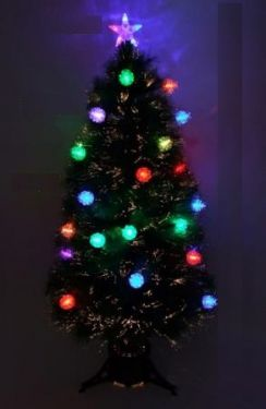 1.5M Xmas Christmas Green Tree Fiber Fibre Optic Led Lights Pinecones Accesories