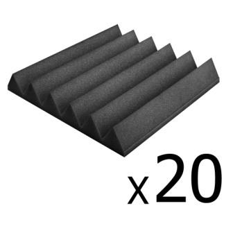 Set of 20 studio wedge acoustic foam charcoal 30 x 30cm