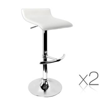 Set of 2 pvc leather kitchen bar stool white