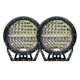 Pair 7inch 590w cree round led driving lights work spotlights 12v 24v black