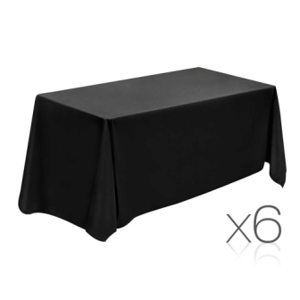 Set of 6 table cloths - black 137 x 244