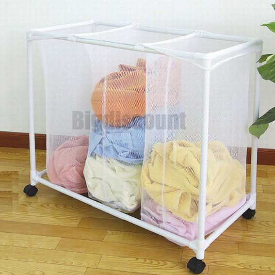 Laundry Sorter Basket Hamper 3 in 1 Mesh Bags