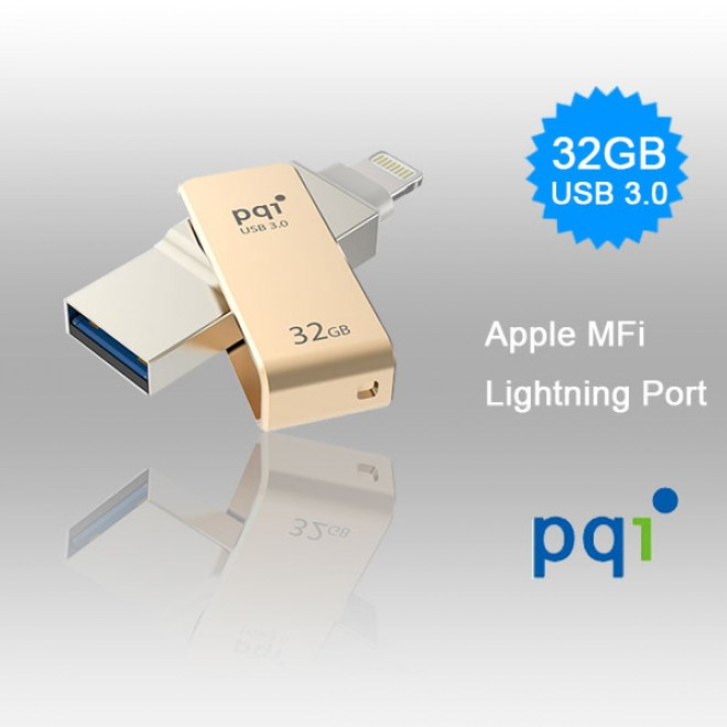 PQI iConnect Mini 6I04-032GR2001 Gold Apple MFi 32 GB Mobile Flash Drive w Lightning Connector for iPhones iPads Mac  PC USB 3 0 6I04-032GR2001