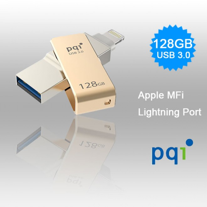 PQI iConnect Mini 6I04-128GR2001 Gold Apple MFi 128 GB Mobile Flash Drive w Lightning Connector for iPhones iPads Mac  PC USB 3 0 6I04-128GR2001
